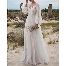 A-Line Wedding Dresses Jewel Neck Floor Length Lace Tulle Long Sleeve Beach Sexy See-Through with Embroidery Appliques 2020