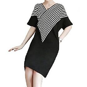 Women's A Line Dress - Short Sleeves Striped Summer Fall V Neck Casual Slim 2020 Black M L XL XXL XXXL XXXXL