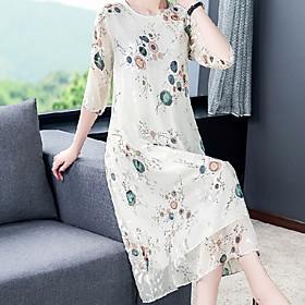 Women's Sheath Dress - Half Sleeve Floral Summer Elegant Slim 2020 White M L XL XXL XXXL XXXXL