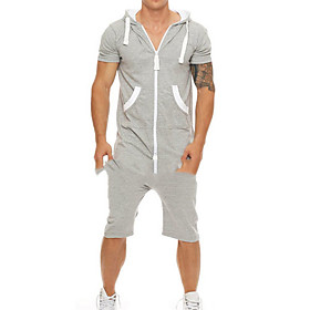 Men's Basic Hooded Light gray Romper Solid Colored