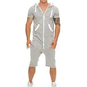 Men's Basic Hooded Light gray Romper Solid Colored