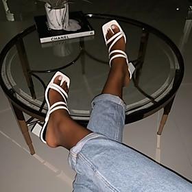 Women's Sandals / Slippers  Flip-Flops Summer Cuban Heel Open Toe Daily PU White / Black