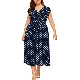 Women's A-Line Dress Midi Dress - Short Sleeve Polka Dot Summer V Neck Plus Size Formal 2020 White Black Fuchsia Navy Blue L XL XXL 3XL 4XL 5XL