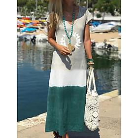 Women's Maxi Shift Dress - Short Sleeves Print Summer V Neck Casual 2020 Wine Green Navy Blue Gray S M L XL XXL XXXL