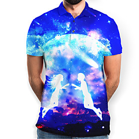 Men's Galaxy Graphic Polo Basic Elegant Daily Going out Blue