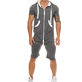 Men's Basic Hooded Dark Gray Romper Solid Colored