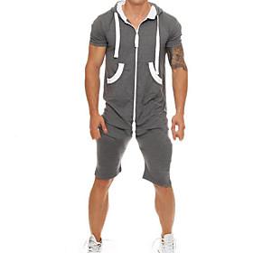 Men's Basic Hooded Dark Gray Romper Solid Colored