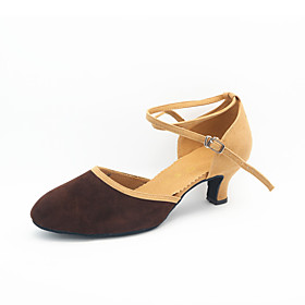 Women's Dance Shoes Modern Shoes / Ballroom Shoes / Line Dance Heel Cuban Heel Customizable Dark Brown / Black / Fuchsia / Performance / Practice