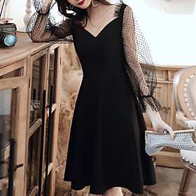 A-Line Minimalist Black Homecoming Cocktail Party Dress V Neck Long Sleeve Knee Length Tulle Spandex with Sleek 2020 / Illusion Sleeve