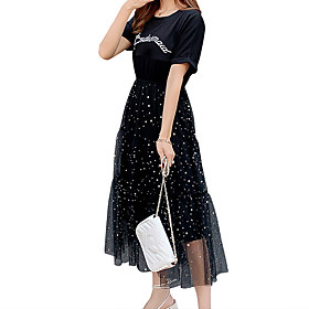 Women's A Line Dress - Short Sleeves Letter Summer Fall Glitters Holiday Going out Slim 2020 White Black Gray M L XL XXL XXXL
