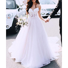 A-Line Wedding Dresses Spaghetti Strap Sweep / Brush Train Lace Tulle Sleeveless Country Sexy See-Through with Embroidery 2020