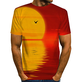 Men's 3D T-shirt Basic Exaggerated Daily Round Neck Rainbow / Short Sleeve