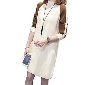 Women's A Line Dress - Long Sleeve Color Block Fall Winter Casual Holiday Going out Slim 2020 White Black Khaki M L XL XXL XXXL