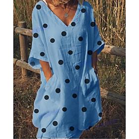 Women's A Line Dress - Half Sleeve Polka Dot Summer V Neck Casual Loose 2020 White Blue Yellow Blushing Pink S M L XL XXL XXXL