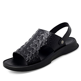 Men's Spring / Summer Casual / Beach Daily Outdoor Sandals Crocodile Breathable Non-slipping Wear Proof Black
