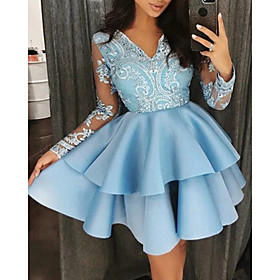 A-Line Sexy Blue Homecoming Cocktail Party Dress V Neck Long Sleeve Short / Mini Satin with Ruffles Tier 2020