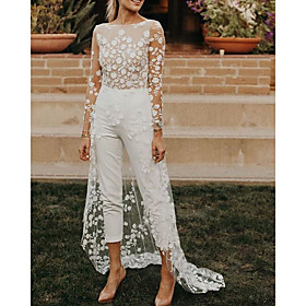 Jumpsuits A-Line Wedding Dresses Jewel Neck Sweep / Brush Train Lace Satin Long Sleeve Sexy See-Through Modern with Embroidery Appliques 2020