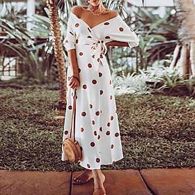 Women's Maxi Sheath Dress - Half Sleeve Print Summer V Neck Elegant Slim 2020 White S M L XL