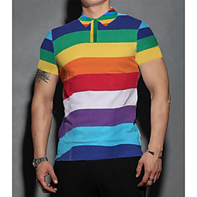 Love Wins Men's Striped 3D Red Print T-shirt Business Basic Daily Sports Rainbow