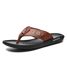 Men's Fall Casual Daily Outdoor Slippers  Flip-Flops PU Breathable Non-slipping Shock Absorbing Light Brown / Dark Brown / Burgundy Color Block
