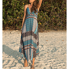 Women's Sundress Dress - Sleeveless Print Summer Strap Casual Slim 2020 Blue M L XL XXL