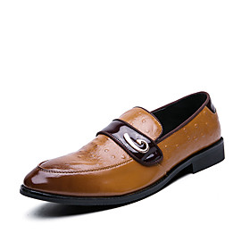 Men's Spring / Fall Business / British Wedding Party  Evening Loafers  Slip-Ons Walking Shoes Faux Leather Non-slipping Wear Proof Light Brown / Black