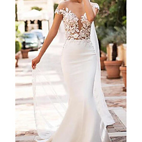 Mermaid / Trumpet Wedding Dresses Jewel Neck Court Train Lace Satin Cap Sleeve Sexy See-Through with Embroidery 2020