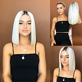 Synthetic Wig Straight Middle Part Wig Short Long Creamy-white Synthetic Hair 65 inch Women's Highlighted / Balayage Hair Dark Roots Middle Part White Brown