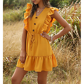 Women's Mini Shirt Dress - Sleeveless Solid Color Summer V Neck Casual 2020 Yellow Green S M L XL