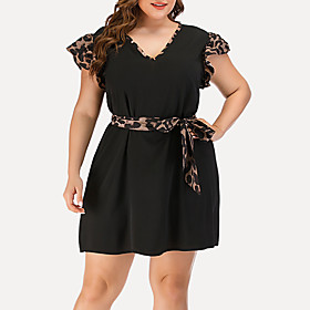 Women's A-Line Dress Short Mini Dress - Short Sleeve Leopard Solid Color Patchwork Summer V Neck Plus Size Casual Elegant Going out 2020 Black Blushing Pink Na