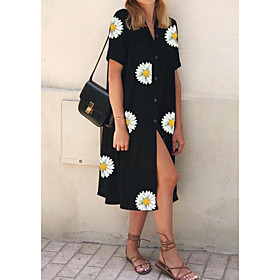Women's Shift Dress Midi Dress - Short Sleeves Floral Summer Casual 2020 Black S M L XL XXL