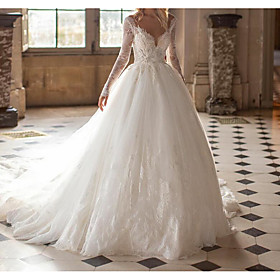 Ball Gown Wedding Dresses Jewel Neck Court Train Lace Tulle Long Sleeve Formal See-Through with Embroidery 2020