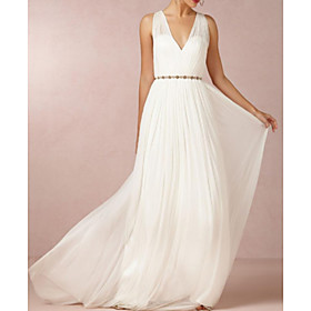 A-Line Wedding Dresses V Neck Sweep / Brush Train Chiffon Over Satin Sleeveless Simple Beach Elegant with Sashes / Ribbons 2020