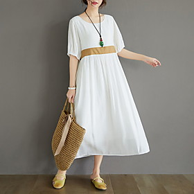 Women's A Line Dress - Half Sleeve Solid Color Summer Casual 2020 White Black M L XL XXL