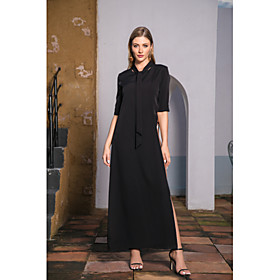 Women's A-Line Dress Maxi long Dress - Long Sleeve Print Spring Summer V Neck Casual Vintage Going out Puff Sleeve 2020 Black S M L