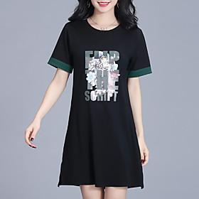 Women's Shift Dress - Short Sleeves Floral Geometric Print Summer Casual Street chic 2020 Wine Black M L XL XXL