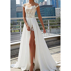 A-Line Wedding Dresses Off Shoulder Sweep / Brush Train Lace Tulle Cap Sleeve Beach Sexy See-Through with Split Front 2020