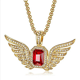 Men's Synthetic Sapphire Pendant Necklace Classic Angel Wings Fashion Titanium Steel Red Blue 50 cm Necklace Jewelry 1pc For Party Evening Festival