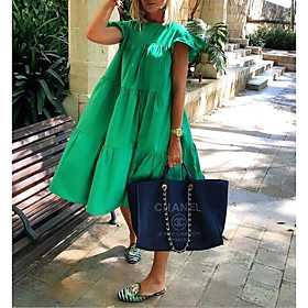 Women's Sundress Dress - Short Sleeves Solid Color Summer Elegant 2020 White Black Red Blushing Pink Fuchsia Green S M L XL XXL