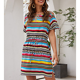 Women's Shift Dress - Short Sleeves Striped Spring Summer V Neck Casual Loose Fine Stripe Rainbow S M L XL