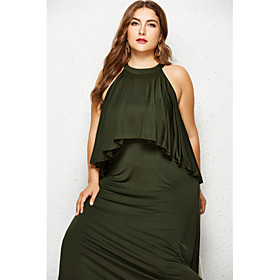 Women's Swing Dress Maxi long Dress - Sleeveless Solid Color Ruched Summer Plus Size Elegant Streetwear Holiday Going out 2020 Black Army Green Royal Blue Navy