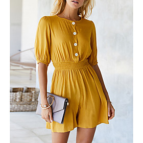 Women's A-Line Dress Short Mini Dress - Half Sleeve Solid Color Summer Sexy 2020 Yellow Army Green Navy Blue S M L XL