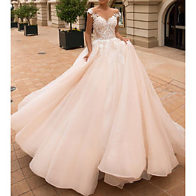 Ball Gown A-Line Wedding Dresses Off Shoulder Court Train Lace Satin Tulle Short Sleeve Vintage Sexy Wedding Dress in Color See-Through Backless with Embroider