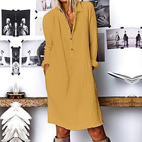 Women's A Line Dress - Long Sleeve Solid Color Summer V Neck Casual 2020 White Blue Yellow S M L XL XXL XXXL XXXXL