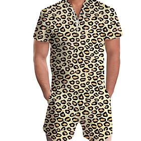 Men's Basic Yellow Romper Leopard Print