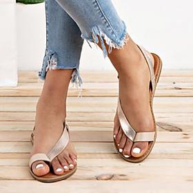 Women's Sandals Flat Sandals Bunion Sandals Orthopedic Sandals Summer Flat Heel Open Toe Daily PU Black / Gold / Silver