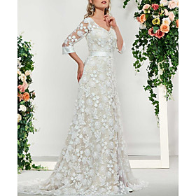 A-Line Wedding Dresses V Neck Sweep / Brush Train Lace 3/4 Length Sleeve Formal Illusion Sleeve with Embroidery 2020