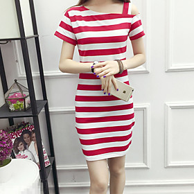 Women's A Line Dress - Short Sleeves Striped Summer Fall Off Shoulder Casual Holiday Going out Slim 2020 White Black Red S M L XL XXL