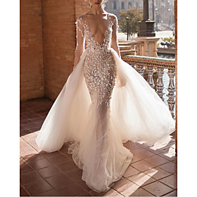 Two Piece A-Line Wedding Dresses Plunging Neck Sweep / Brush Train Lace Tulle Sleeveless Beach Sexy See-Through Backless with Embroidery Appliques 2020
