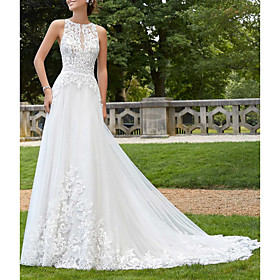 A-Line Wedding Dresses Jewel Neck Court Train Lace Tulle Sleeveless Sexy Backless with Embroidery 2020